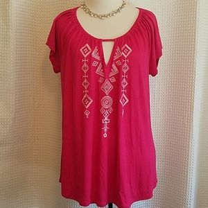 Melissa Paige fuchsia pink Aztec embroidered top